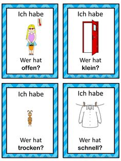 I have who has. German version of the I have ... Who has ...? game. This German game can be played to practice German adjectives. The game has 36 cards with a colorful frame and 36 cards with a simple black frame to save you ink. English Adjectives, Colorful Frames, Esl Resources, English Games, Learn German, German Language, Teaching English, Teacher Pay Teachers, Writing