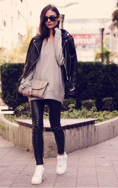 leather leggings and cozy sweater