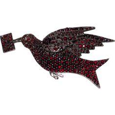 Beautiful Rare Victorian Bohemian Garnet Bird with Letter Brooch