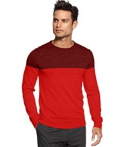 Calvin Klein Sweater, Macy's Holiday Exclusive Color Block Crew Neck Sweater - Mens - Macy's