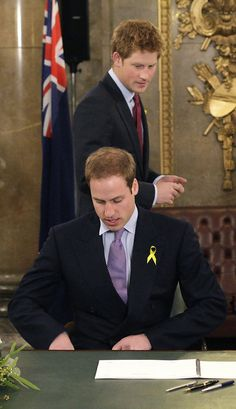♔Brothers♔Prince Harry♔Prince William.....Prince Harry - Princes William And Harry Sign Australian Wildfire Book Of Condolence
