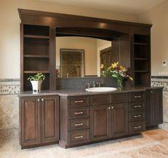 Built in dining room wall idea.  Door Style: Lincoln Wood Species: Custom Stain: Hazelnut w/ Ebony ...