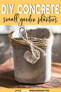 Cute concrete planters made with simple molds. These planters make for a rustic container garden of herbs or small plants. A fun DIY weekend project. #containergarden #gardening #concrete #cement #DIY