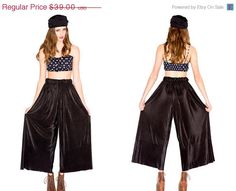 HOLIDAY SALE Super Soft Black Satin Finished High Waisted Accordian Pleated Palazzo Wide Legged Pants on Etsy, £19.54