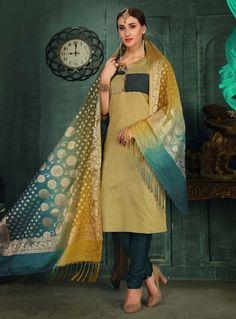 Buy Beige Chanderi Silk Readymade Churidar Salwar Suit 129883 online at lowest price from huge collection of salwar kameez at Indianclothstore.com. Churidar, Salwar Kameez, Indian Ethnic Wear, Salwar Suits, Sari, Beige, Elegant, Silk Suit, Model