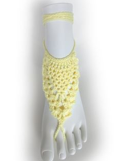 Light Yellow Lace Barefoot Sandals or 23 different colors. Crochet Foot Jewelry. Bridal Accessory. Beach Party. For Women. Set of 2 pcs.