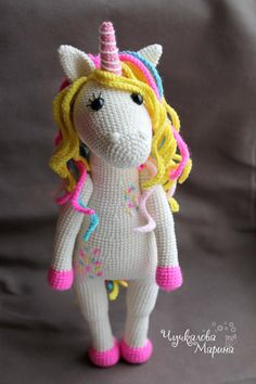 This pattern is available in English Note: prices do not include VAT which may also be added to your purchase. VAT (Value Added Tax), a tax charged on most goods and services in the European Union  Hi! Let me introduce crochet toy a sweet unicorn! Her body is in a sugar grit, her curls are made of caramel, and it is made of soft, aerial pastila. A sweet unicorn came from a wonderland to make your fond dreams come true.  THIS IS A DOWNLOADABLE PATTERN ONLY and NOT THE FINISHED TOY Crochet…