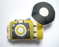 Camera Brownie Plush / Pillow in Mustard and Dark Gray by Yellow Heart Art $27.50