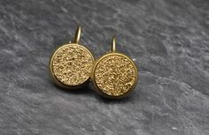Druzy earrings made with Gold druzy geode beads and antiqued brass base earrings on Etsy, $35.00