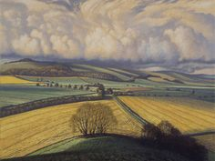 'May 23 (Rape Fields, Little Knoll)' by James Lynch (Egg tempera on gesso coated wood panel) Landscape Art, Landscape Paintings, Landscape Sketch, James Lynch, Canvas Paper, Art For Art Sake, Cool Landscapes, Illustrations And Posters, Great Artists