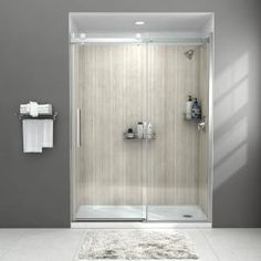 American Standard Passage 32 in. x 60 in. x 72 in. 4-Piece Glue-Up Alcove Shower Wall in White Subway Tile-P2969SWT.375 - The Home Depot Tub Shower Combo, Shower Tub, Shower Walls, Shower Door Handles, Frameless Sliding Shower Doors, Chrome Handles, Custom Shower, Glass Shower, Bathroom Interior Design