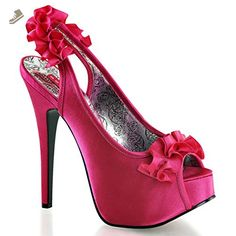 Womens Slingback Peep Toe Hot Pink Pumps with Ruffle Trim and 5.75'' Heels Size: 9 - Summitfashions pumps for women (*Amazon Partner-Link)