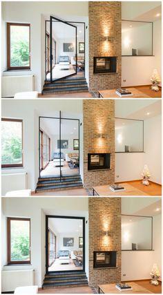 Glazen pivotdeur op maat met helder glas en zwart frame en kader rondom de deur. Het innovatieve pivotsysteem werkt zonder vloerveer of inbouwelementen in de vloer en plafond. Het unieke sluitsysteem van Anyway zorgt ervoor dat de deur in beide richtingen kan opendraaien en de deur volledig afsluit in gesloten toestand. Het pivotsysteem kan zowel excentrisch als centraal gepositioneerd worden. Maatwerk met functionele meerwaarde van Anyway Doors.