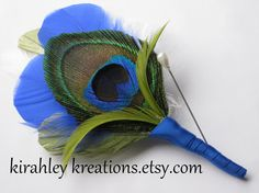 TROY -- Peacock, Clover Green & Cobalt Royal Blue Feather Grooms Keepsaek Wedding Boutonniere. $19.00, via Etsy.