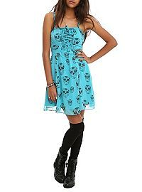 HOTTOPIC.COM - Royal Bones Turquoise Black Skulls Dress