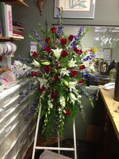 Red white and blue standing spray Funeral Floral Arrangements, Rose Arrangements, Beautiful Flower Arrangements, Beautiful Flowers, Funeral Spray Flowers, Funeral Sprays, Casket Flowers, Casket Sprays, Memorial Flowers
