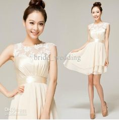 Wholesale Lovely Ivory Junior Bridesmaid Dresses Jewel Light Poretrait Sheer Lace Band Asymmetrical Ruffle, Free shipping, $86.25/Piece | DHgate