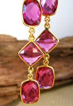 Deep Pink Earrings Large Quartz Trendy Cabaret Earring Drops