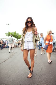Aimee Song in our Cross Over Layer necklace...we're eying her Sigerson Morrison Sandals!