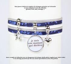 Bracelet liberty cabochon personnalisé avec prénom ou message - indigo gris blanc
