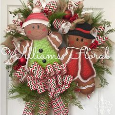 Gingerbread Christmas Wreath Mesh Wreath by WilliamsFloral on Etsy