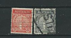 #Australia gv 1935 gallipoli #anniv. pair - used #(sg154/155) cat. £45.00+,  View more on the LINK: http://www.zeppy.io/product/gb/2/371483389701/