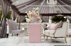 Elegant Reception - love the gray draping with blush pink