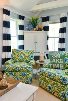 What's more nautical than navy and white stripes? These bold and graphic stripes heighten the room and bring your eyes up. Sail on over to HomeGoods for these window panels along with more coastal decor. Happy By Design Sponsored Post