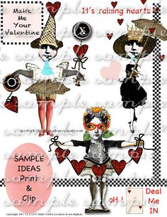 ART TEA LIFE Two of Hearts Collage Sheet Digital by onecrabapple