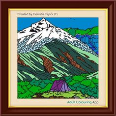 #adultcoloring #adultcoloringbook #adultcoloringbookapp #mountains #tent #camping