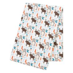 Trend Lab Deluxe Flannel Swaddle Blankets offer the perfect amount of breathable warmth and softness to keep baby nice and cozy. The soft 100% cotton flannel Scandi Forest swaddle features bears, moose, fox and owls in walnut brown, blue moon, white and pops of bright orange is perfect for your little one. Trend Lab generously oversized swaddles measure 48 inch x 48 inch and are multipurpose for swaddling, tummy time and on the go nursing! Additional colors, prints and Deluxe Flannel…