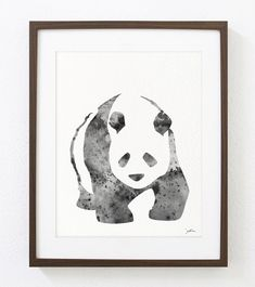 Panda Art Watercolor Painting - 8x10 Archival Print - Panda Bear Print - Black and White, Gray Panda Silhouette