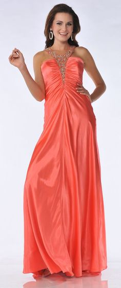Rhinestone Stud Satin Coral Formal Dress Long Full Length Sexy Back  207.99  Šaty Na Červený Koberec 7e6e8ec82bf
