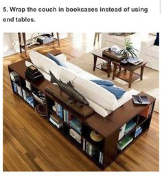 Wrap the couch in bookcases instead of end decorating house design interior design home design My Living Room, Home And Living, Living Spaces, Small Living, Sweet Home, Diy Casa, Diy Home, Home Decor, Deco Design