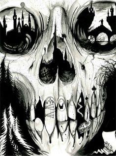 skull / black / white / illustration