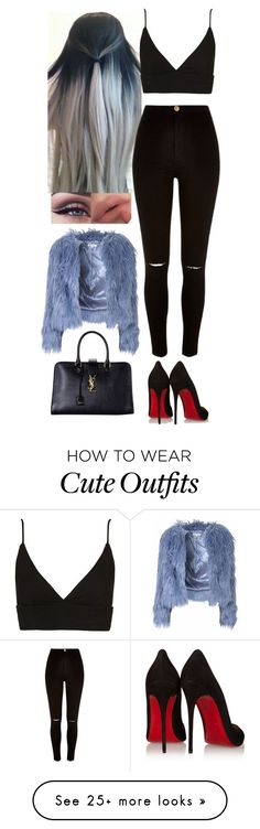 """""""Cute Outfit #31"""" by directioner66234 on Polyvore featuring Topshop, River Island, Glamorous, Christian Louboutin and Yves Saint Laurent"""