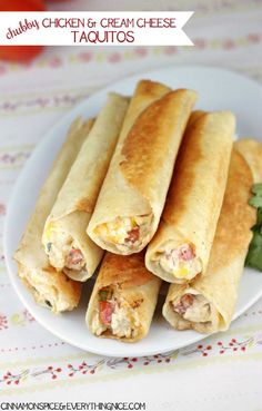 Chubby Chicken and Cream Cheese Taquitos ~ Tortillas rolled with a shredded chicken, cream cheese, cheddar, salsa and spinach filling. They have an addicting crunch that gives way to creamy, cheesy insides that will turn these into fast favorites I Love Food, Good Food, Yummy Food, Delicious Snacks, Great Recipes, Favorite Recipes, Easy Recipes, Recipe Ideas, Healthy Recipes