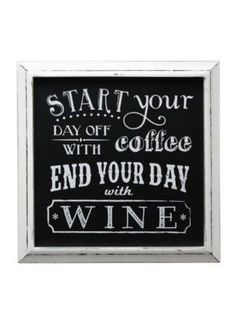 Fetco Home Decor  Coffee Wine Chalkboard Wall Plaque