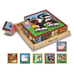 Six puzzles in one! There are 16 solid wooden cubes in this unique puzzle. Rotate the cubes in the included wooden tray to complete colorful pictures of six different farm animals. (The border design provides a helpful hint!)