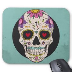 Sugar Skull Day of the Dead Flowered Mousepad - flower gifts floral flowers diy