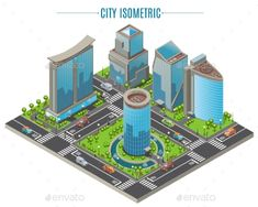Buy Isometric Business City Concept by VectorPot on GraphicRiver. Isometric business city concept with office buildings of modern architecture helipads trees moving cars isolated vect. Minecraft Barn, Minecraft City Buildings, Minecraft Modern, Amazing Minecraft, Minecraft Architecture, Office Buildings, Building Icon, Building Drawing, Isometric Art