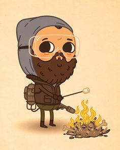 Roasting Marshmallows by Mike Mitchell Cross Eyed Cat, Olly Moss, Tom Whalen, Mike Mitchell, New Print, Pattern Art, Character Design, Character Flat, Illustrators