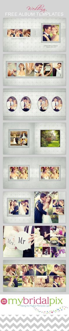 Free wedding album templates at www.mybridalpix.com. #wedding #album #photobook #template #photography