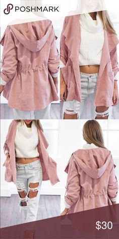 Lightweight Hooded Trench PLEASE READ DESCRIPTION 😀  NWT. Light pink in color (more pics will be added within the hour) with adjustable sleeves for long or short sleeve wear. Marked size large, but actually is a medium. Super cute for the season!!!  🚫NO TRADES🚫 Jackets & Coats Trench Coats