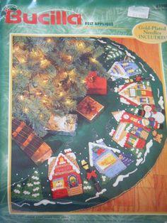 "Bucilla Christmas felt applique RARE  Christmas Village tree skirt NEW 43"" 83980 #Bucilla #Christmas #DIY"