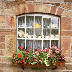 Blossoms- Yorkshire Dales, England European photo of window with flowerbox in Yorkshire Dales, England by Dennis Barloga Fine Art Photo, Photo Art, Portal, Garden Windows, Cottage Windows, Yorkshire Dales, Yorkshire England, Window Dressings, Through The Window