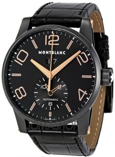 Montblanc Black Dial Automatic Black Alligator Leather Mens Watch
