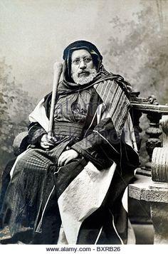 Man in Traditional Palestinian Costume, Jerusalem (c1900). Studio Portrait Photo or Cabinet Card by Garabed Krikorian - Stock Image