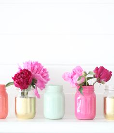 Painted jars + peonies, cute for a center piece + easy cheap! Diy Arts And Crafts, Cute Crafts, Diy Crafts, Painted Jars, Mason Jar Crafts, Home Decor Accessories, Pretty Flowers, Diy Painting, Ideas