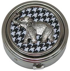 BAMA Small Silver Box with Houndstooth Elephant Medallion